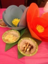 """Paper flowers created for """"Flip Flop Sunday"""""""